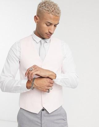 Topman skinny double breasted suit waistcoat in pink