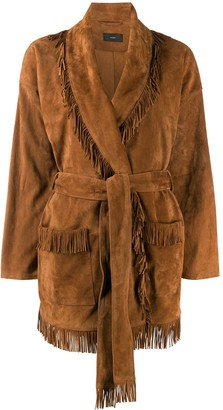 Alanui Front Tie Fringed Suede Jacket
