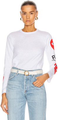 Comme des Garcons Long Sleeve Logo Emblem Tee in White | FWRD
