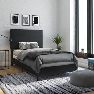 DHP Janford Upholstered Bed, Full, Navy Linen