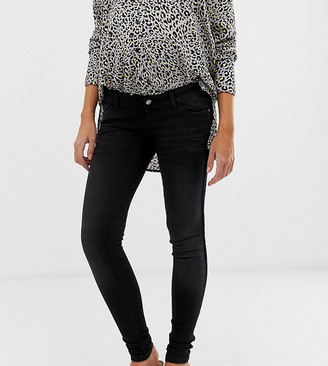 Mama Licious Mamalicious slim jeans with velour tape detail and bump band
