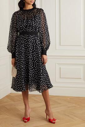 Dolce & Gabbana - Polka-dot Silk-blend Chiffon Midi Dress - Black