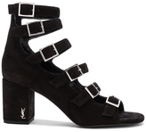 Saint Laurent Suede Babies Buckle Sandals in Black.
