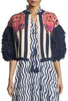 Figue Fringed-Sleeve Intarsia-Stripe Alpaca Cardigan with Embroidery