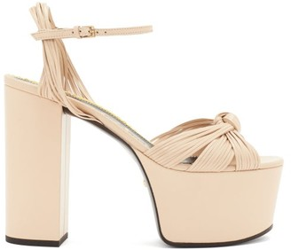 Gucci Knotted-vamp Leather Platform Sandals - Womens - Nude