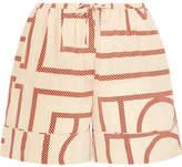 Totême Lansallos Printed Silk-satin Shorts