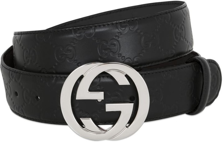 Gucci 40mm Gg Embossed Logo Leather Belt