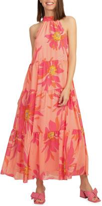 Trina Turk Sunglasses Tiered Halter Maxi Dress