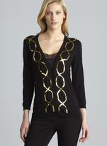 August Silk Sequin Embellished Knit Cardigan
