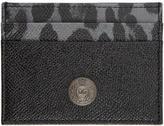 Dolce & Gabbana Black Leopard Logo Stud Card Holder