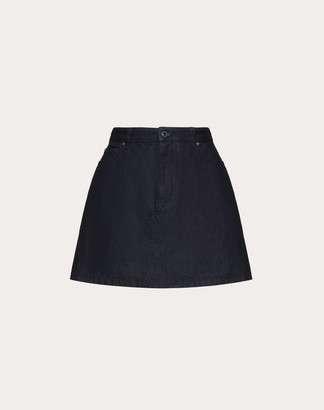 Valentino Vlogo Denim Mini Skirt Women Dark Blue 100% Cotone 36