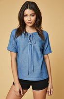 Lucca Couture Lace-Up Denim T-Shirt