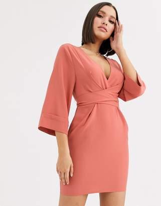 Asos Design DESIGN kimono sleeve v neck mini dress-Red