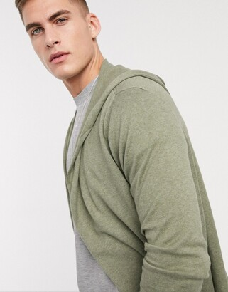 Asos Design DESIGN hooded open front cardigan with curved hem in khaki-Green