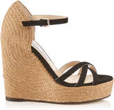 Jimmy Choo DELANEY 125 Black Suede Wedges with Braided Rope Detailing