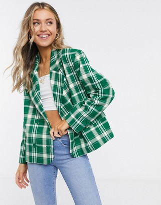 Monki Penny check print blazer in green