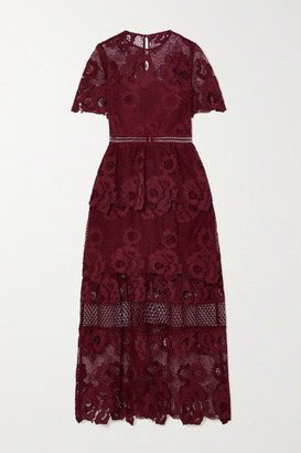 Self-Portrait Tiered Guipure Lace Maxi Dress - Burgundy