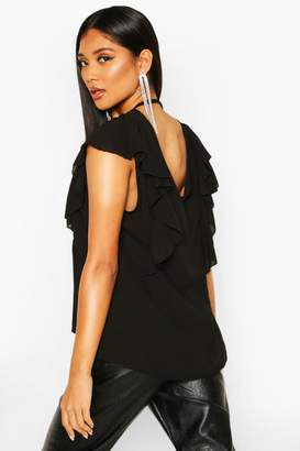 boohoo Ruffle Sleeve Wrap Back Top