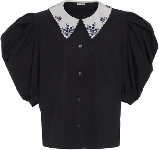 Miu Miu Embroidered Collar Button Down Top
