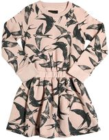 Finger In The Nose Bird Printed Cotton Sweatshirt Dress