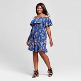 Merona Women's Plus Size Cold Shoulder Dress Blue Floral