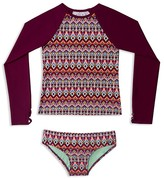 Gossip Girl Girls' Deco Diamond Print Rash Guard 2-Piece Swimsuit - Sizes 7-16