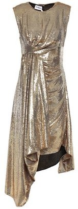 Ainea Open-back Draped Sequined Woven Dress