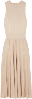 CASASOLA Pleated Stretch-knit Midi Dress