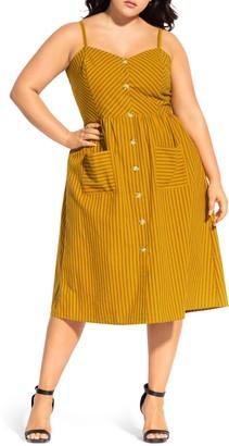 City Chic Ticking Stripe Cotton Blend Sundress