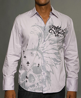 Rebel Spirit Silver 'Rebel Spirit' Winged Skull Button-Up - Men's Regular