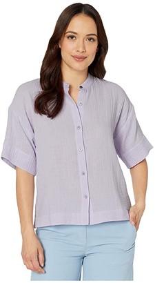 Eileen Fisher Petite Organic Cotton Lofty Gauze Mandarin Collar Elbow Sleeve Boxy Shirt (Wisteria) Women's Clothing