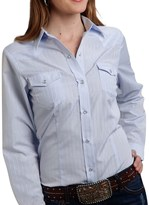 Roper Classic Tone-on-Tone Striped Shirt - Snap Front, Long Sleeve (For Women)