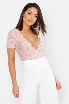 boohoo Lace Wrap Short Sleeve Bodysuit