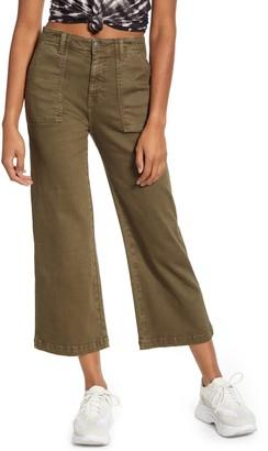 A V Denim Crop Flare Carpenter Pants