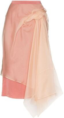 Sies Marjan layered asymmetric tulle midi skirt