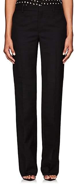 Women`s Flat-Front Wool Trousers - Black