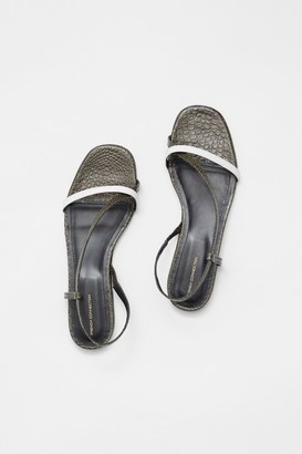 French Connenction Croc Leather Wrap Around Flat Sandal