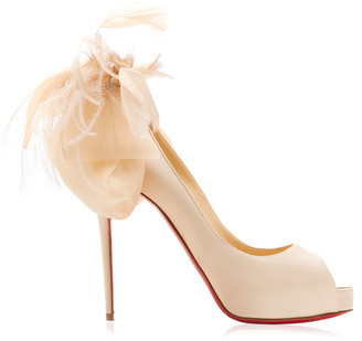 Christian Louboutin Anemoniac Embellished Satin Peep-Toe Pumps