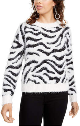 Hooked Up by Iot Juniors' Fuzzy Zebra Sweater