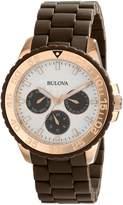 Bulova Women's 98N103 Brown Rubber Wrapped Stainless-Steel Bracelet Watch
