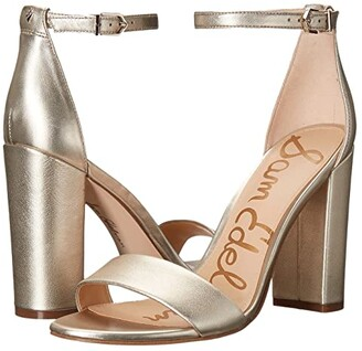 Sam Edelman Yaro Ankle Strap Sandal Heel (Peach Fizz Patent Stone Croco) Women's Dress Sandals