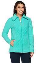 Denim & Co. As Is Fleece Quilted Jacket with Waist Detail
