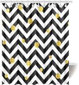bitt Chevron Decor Shower Curtain, Zig Zag Symmetric Pattern with Gold Polka Dots Rounds Modern Minimalist Design Fabric Bathroom Shower Curtain Extra Long