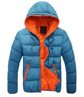 WSLCN Mens Winter Casual Hooded Thick Padded Jacket Zip Up Slim Outwear Coat