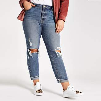 River Island Womens Plus mid Blue ripped Mon jeans