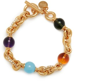 Mulberry Grace Bracelet Gold and Multicolour Brass, Strass and Resin