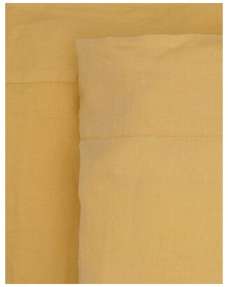Australian House & Garden Sandy Cape Washed Belgian Linen Sheet Set in Saffron Yellow