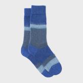 Paul Smith Women's Fluffy Blue Colour Block Mohair-Cashmere Socks