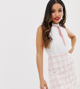 Paper Dolls Petite 2 in 1 mini dress with chiffon top and checked skirt in pink