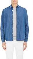 Barneys New York Men's Knit-Collar Cotton Chambray Shirt